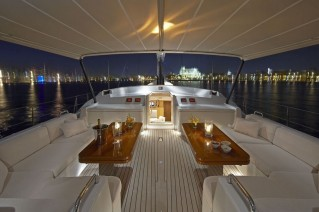 Sailing yacht Nephele -  Deck Seating and Bimini at night