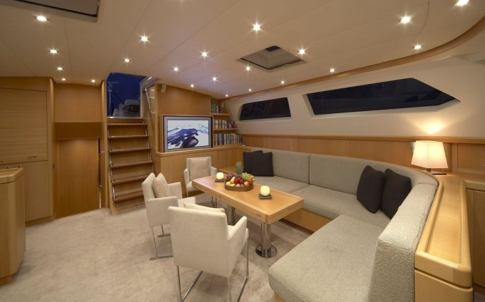 Sailing yacht Nephele -  Salon Dining
