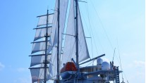 Sailing yacht RUNNING ON WAVES -  Aft View