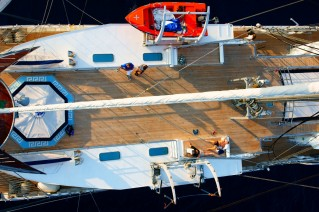 Sailing yacht RUNNING ON WAVES -  Deck From Above