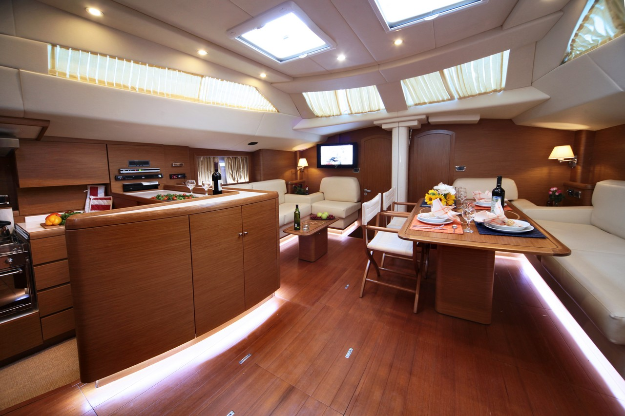 sailing yacht shooting star salon and galley luxury. Black Bedroom Furniture Sets. Home Design Ideas