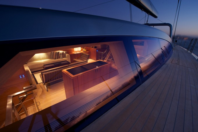 Sailing yacht Sarissa -  On Deck at night