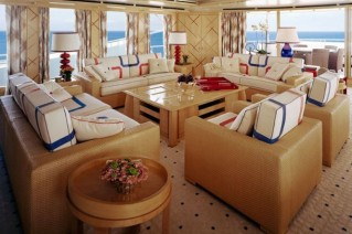 Salon of motor yacht NATITA by Alberto Pinto interior design