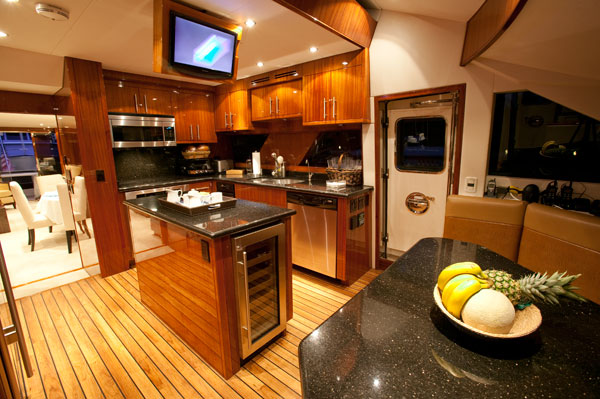 luxury yacht charter show boat - galley - hatteras