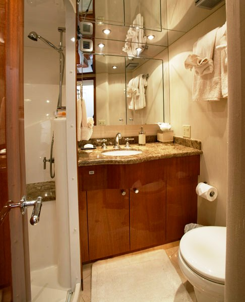 Luxury Yacht Charter Show Boat Guest Bathroom Hatteras