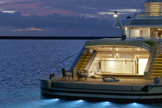 Smeralda Yacht at night - Aft View