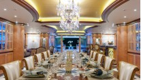 Solandge Yacht - Main deck dining - Photo by Klaus Jordan