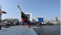 Superyacht Athos at her launch at Holland Jachtbouw