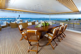 Superyacht OMEGA - Upper deck dining