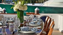 Superyacht REBEL - Alfresco dining detail
