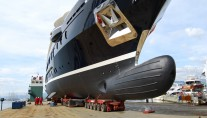 The motor yacht NUMPTIA launching by Rossi Navi