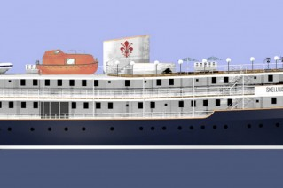 The motor yacht Snellius conversion re-launch rendering profile