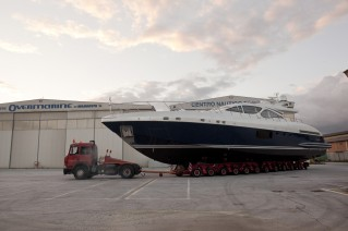 Transportation of the first unit of Mangusta 94 Yacht