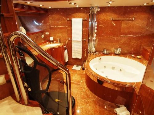 WILLPOWER   Master Cabin Bathroom. TI AMO Yacht Charter Details  Sunseeker 105   CHARTERWORLD Luxury