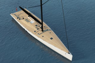 WallyCento superyacht Hull no. 3 from above