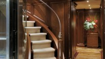 Winding Stairwell inside the Hakvoort Yacht Mirgab VI
