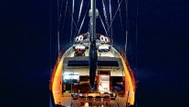 Yacht BLUE EYES -  Aft View at Night