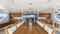 Yacht SILVER LINING - Upper deck dining view to lounge