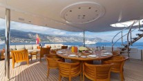 Yacht Troyanda -  Upper Aft Deck Dining Area
