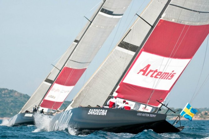 Louis Vuitton Trophy, Day 6. Artemis (SWE) vs Mascalzone Latino Audi Team (ITA) Photo Credit Paul Todd