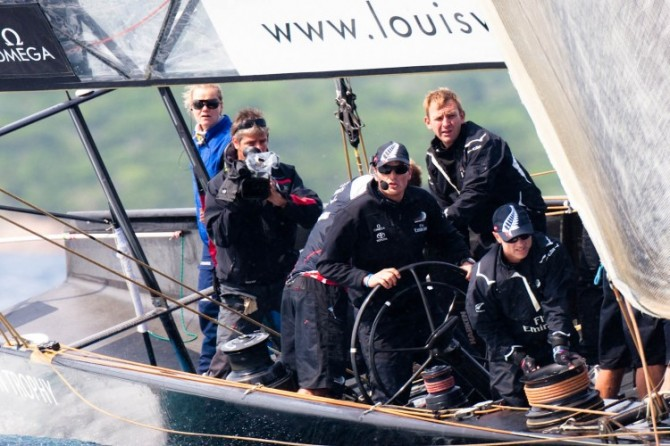 Louis Vuitton Trophy: Dean Barker at the helm of Emirates Team New Zealand (NZL), Photo Credit  Bob Grieser