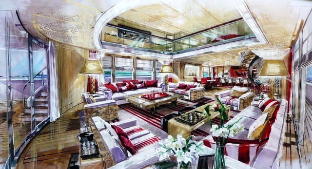 Megayacht Red Square Salon Rendering Yacht Charter
