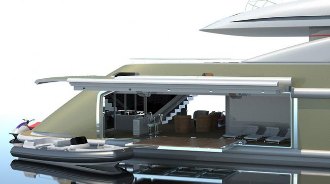 ISA Yachts 630 Superyacht - Design Rendering Side Garage