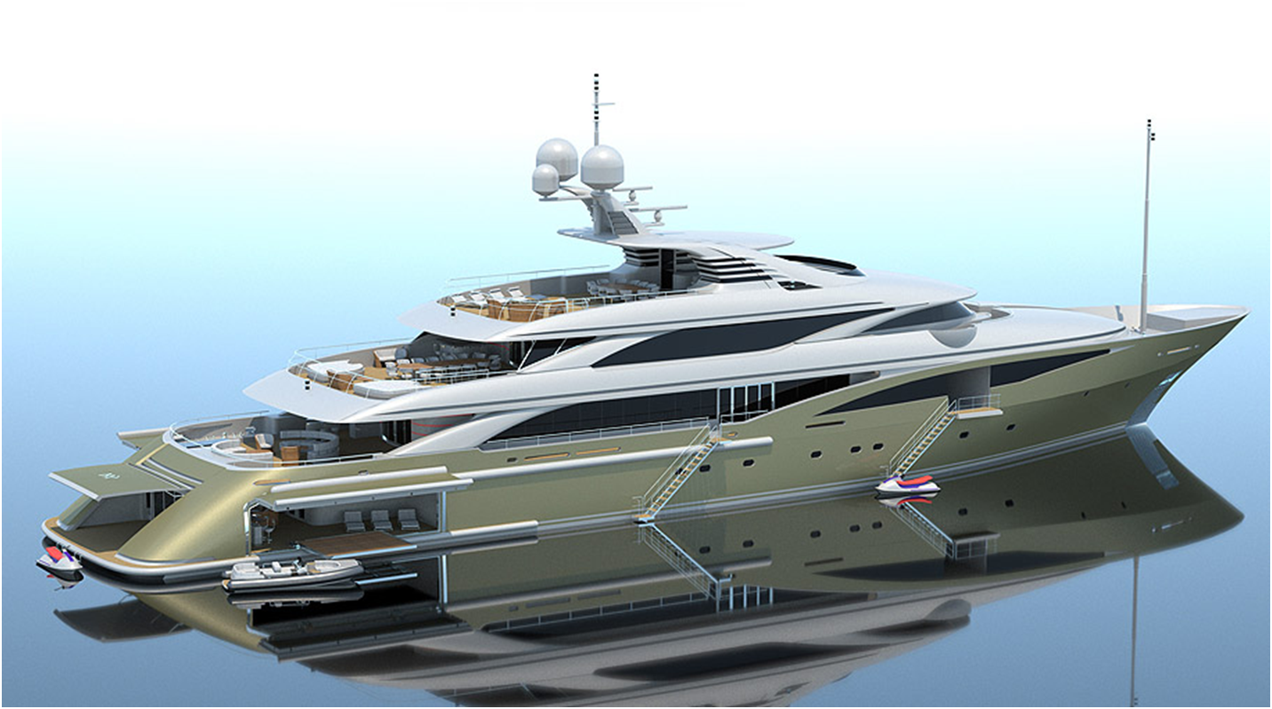 Sa yachts 630 superyacht design rendering showing aft garage the