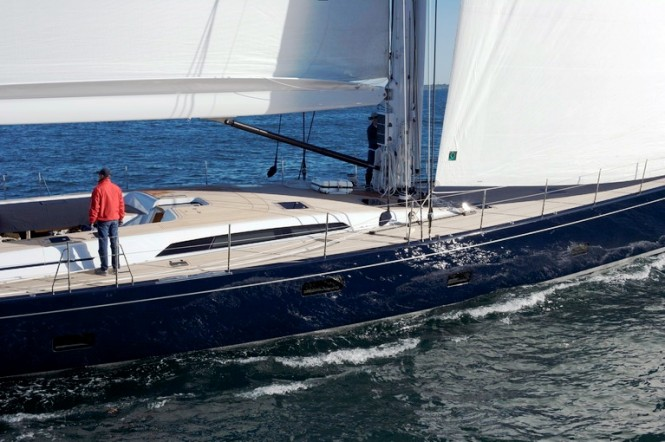 A Deck Closeup of the Southern Wind 100 Sailing Yacht BLUES