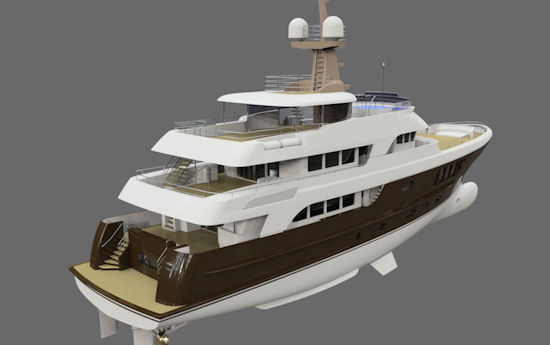 The New 39m Expedition Motor Yacht in construction at Alloy Yachts