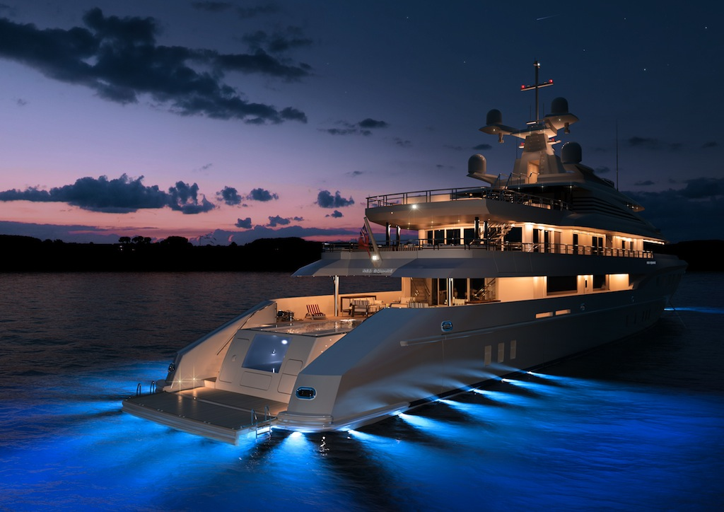 Mega Yacht Red Square Aft At Night MegaYacht Due To Be Launched Early 2011