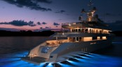 Mega Yacht Red Square Aft at Night - -MegaYacht Red Square due to be launched early 2011 - Image courtesy of Dunya Yachts