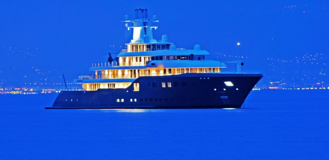 Superyacht ICE in the Evening - Photo by Ric Pilguj