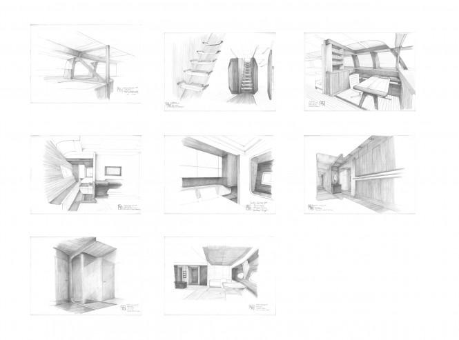 christian liaigre interior designer drawings of the alloy sailing yacht vertigo - Interior Design Drawings