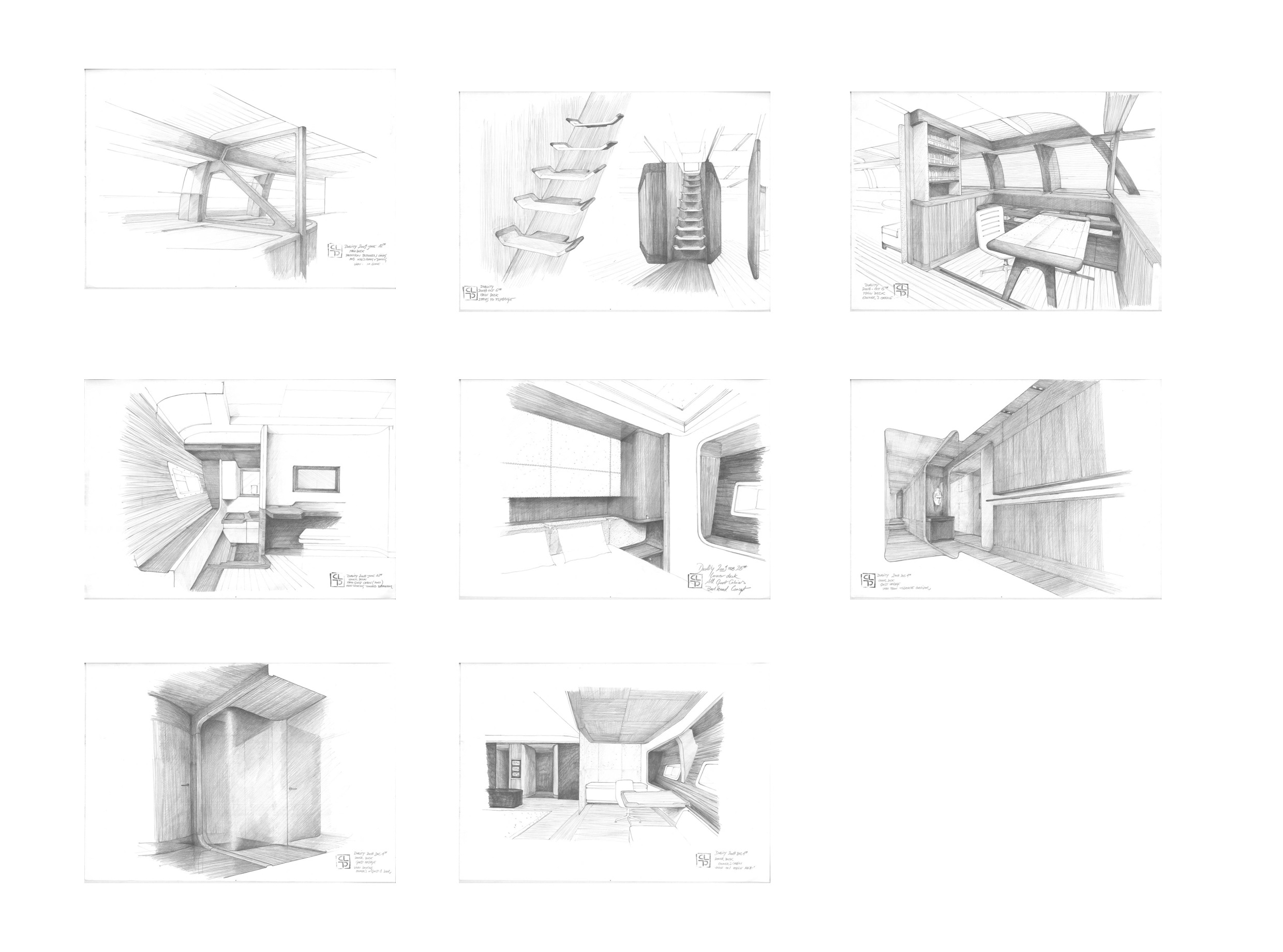 Christian liaigre drawings of the interior sailing yacht for Interior designs drawings
