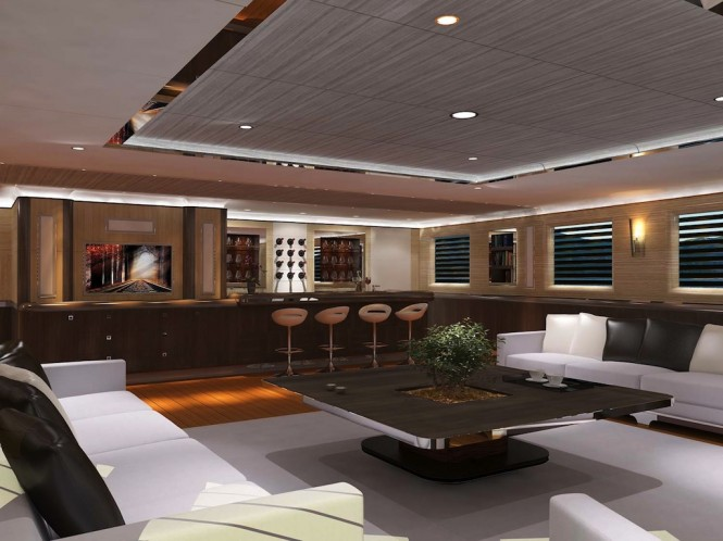 colombus 245 motoryacht upper salon rendering image courtesy of colombus yachts luxury yacht. Black Bedroom Furniture Sets. Home Design Ideas