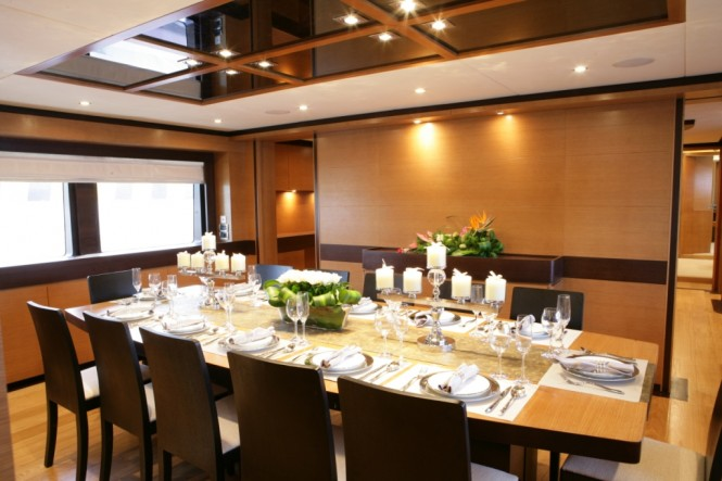 Motor yacht PRIMADONNA Dining area - Photo Credit IAG Yachts
