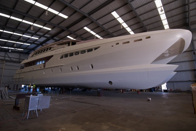 Incat Crowther 38 catamaran Zenith under construction at Sabre Catamarans