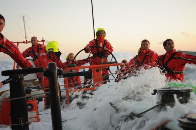 Onboard Groupama in the North Sea Photo Credit Yann Riou Team Groupama