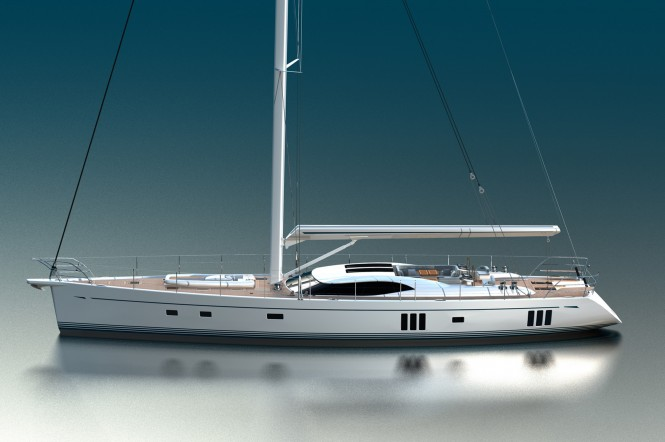 Profile of the Oyster 855 Sailing yacht - Photo Credit Oyster Marine