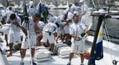 Sailing yacht Esimit Europa 2 Crew celebrate breaking Palermo-Monte Carlo record - Photo by Andrea Carloni