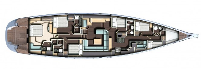 Sailing yacht Oyster 885 interior layout - Photo Credit Oyster Marine