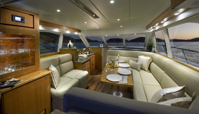 The 43 Open Flybridge's luxurious saloon opens out to an oversized cockpit
