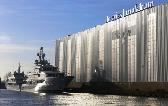 The Feadhsip De Vries Makkum Shipyard where the new Yacht Musashi was launched