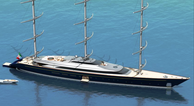 The New Perini Navi 335 ft (102m) Falcon Rig Sailing Superyacht Concept