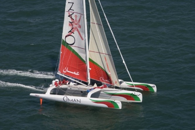 Trimaran sailing yacht Oman Air Majan Photo Credit mark Lloyd - Oman Sail