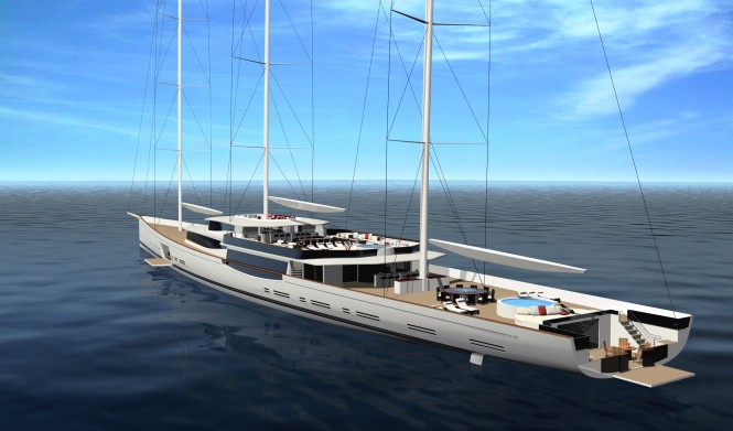 100m mega sailing yacht by Design Unlimited and Reichel Pugh Yacht Design