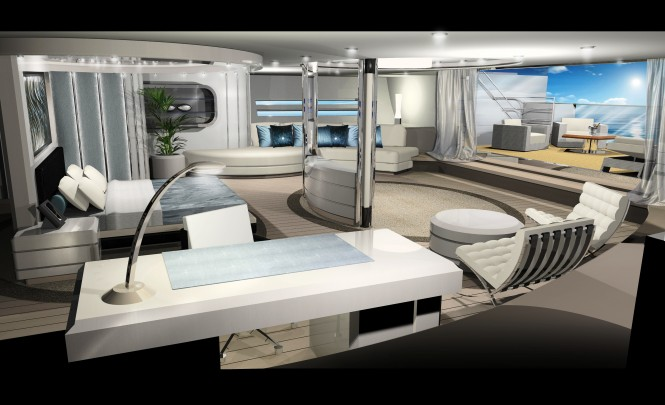 100m mega sailing yacht by Design Unlimited and Reichel Pugh Yacht Design  - Master Cabin