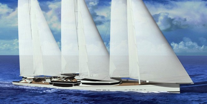 100m mega sailing yacht by Design Unlimited and Reichel Pugh Yacht Design..