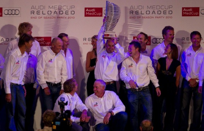 Audi MedCup 2010 Prizegiving. Emirates Team New Zealand Series 1st Prize presentde by Lothar Korn Region of Sardinia Trophy Photo Credit Ainhoa Sanchez Audi MedCup